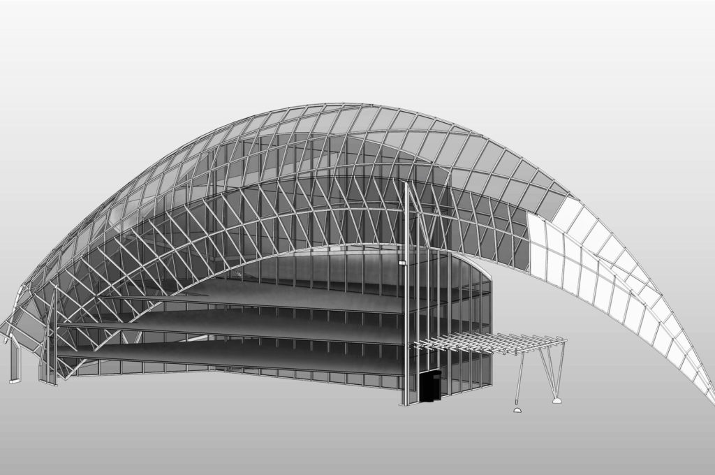 CAD model of a building showing The Engineering Design completed project example.