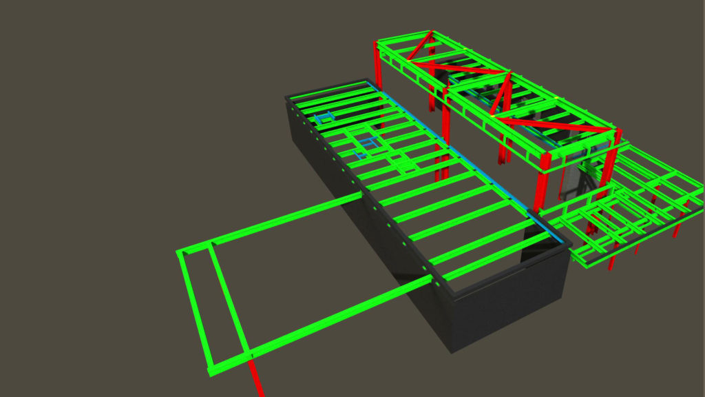 Steel structure model of a commercial purpose building designed using Tekla BIM