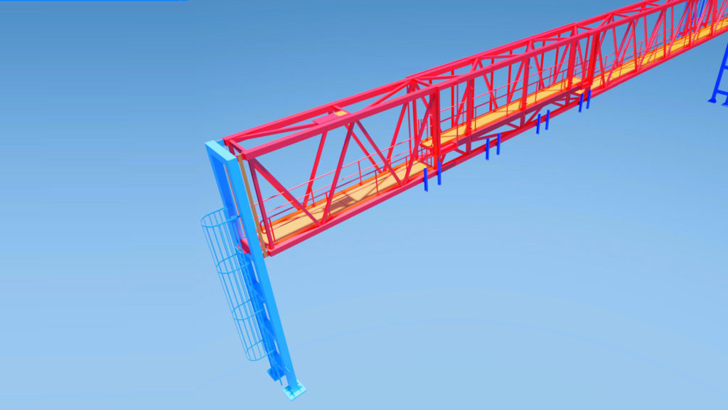 Steel truss drawing of a gantry structure developed by The Engineering Design.